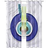 Cortinas opacas para dormitorio, diseño turco de mal de ojo, 52...