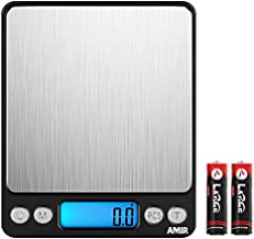 AMIR Digital Kitchen Scale, 3000g 0.01oz/0.1g Pocket Cooking Scale, Mini Food Scale, Pro Electronic Jewelry Scale with Back-Lit LCD Display, Tare & PCS Functions, Stainless Steel,Black