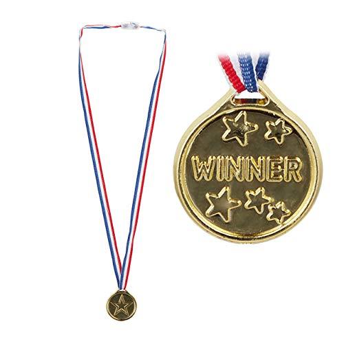 Relaxdays niños, Set de 24 medallas, Trofeo para ganadores, 3,8 cm Ø, Plástico, Dorado, Color, estándar (10024244)
