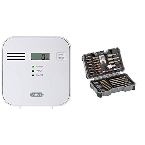 ABUS Kohlenmonoxid-Warnmelder COWM300 CO-Melder | LCD-Display inkl. CO-Konzentration | bis 60 m² | weiß & Bosch Professional 43tlg (Zubehör für Elektrowerkzeuge) Schrauber Bit Set, 1 W, 240 V