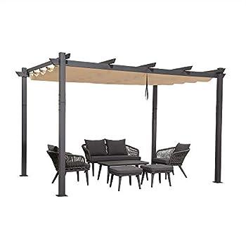 PURPLE LEAF 10  X 12  Outdoor Retractable Pergola with Sun Shade Canopy Patio Metal Shelter for Garden Porch Beach Pavilion Grill Gazebo Modern Yard Grape Trellis Pergola Beige