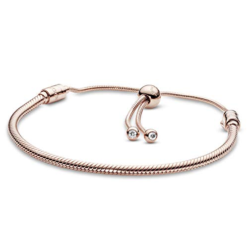 """PANDORA Jewelry Moments Pave Heart Clasp Snake Chain Cubic Zirconia Bracelet in Rose, 11.0"""""""