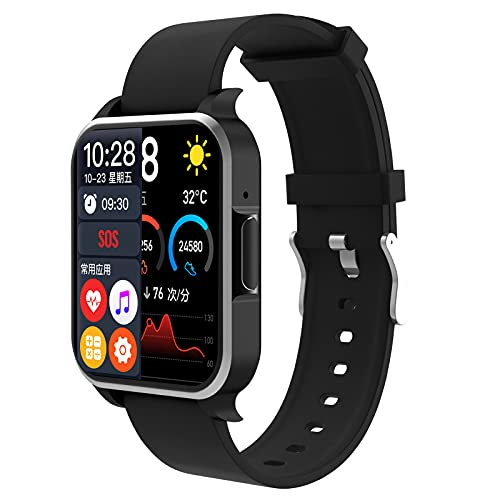 HQPCAHL Reloj Inteligente con Llamada Bluetooth para Hombres, Mujeres, Rastreador De Ejercicios con Monitor De Frecuencia Cardíaca Y Sueño, Podómetro, Compatible con iOS Y Android,Negro