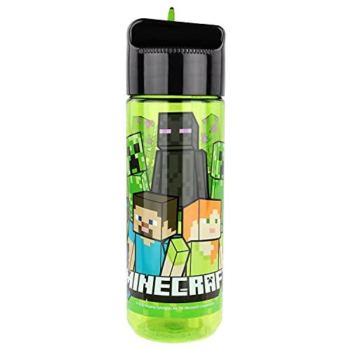 POS 33171 - Botella de plástico con diseño de Minecraft, sin BPA ni ftalatos, capacidad aprox. 540 ml, ideal para viajes, guarderías y deportes, para niños y niñas