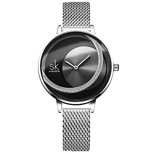 RORIOS Mujer Relojes de Pulsera Cuarzo Analogico Relojes para Dama Minimalismo Simulado Diamante Dial Mesh Strap Moda Ladies Watches