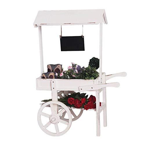 RUNWEI Blumen-Rack-Anlagen Stehen Holz-Regale Bonsai-Anzeigen-Regal Garten Terrasse Storage Rack Warenkorb Kleine Tafel