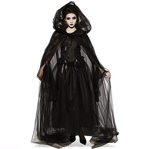 YEBIRAL Halloween Kostüm Damen Lange mit Kapuze Steampunk Gothic Magic Mistress Hexenkostüm Teufelchen Halloween Cosplay Kostüm (1 Kleid + 1 Farbband + 1 Umhang + 2 Ärmel) 5 Stück