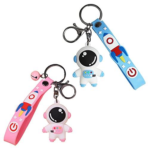 Aloces 2 portachiavi a forma di cartoon da appendere, Spaceman, giocattolo creativo, regalo per auto, portachiavi, portachiavi, accessorio per fidanzato (rosa, blu)