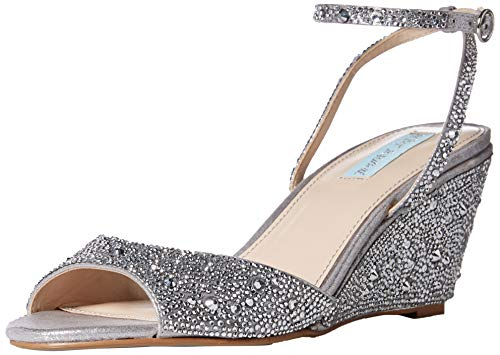 Price comparison product image Betsey Johnson Blue Women's SB-Elora Wedge Sandal,  Silver,  7.5 M US