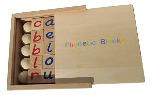 BeeLearners Montessori Phonetic Reading Blocks with A Wooden Box for Early Childhood Learning Ages 3 and Above