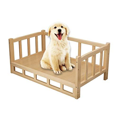 LSM Camas Perros Cama De Madera para Mascotas, Excelente Cama Natural para Perros y Gatos con Marco de Madera, Sofá Elevado para Mascotas Que Se Mantiene Alejado del Suelo Húmedo Y Frío