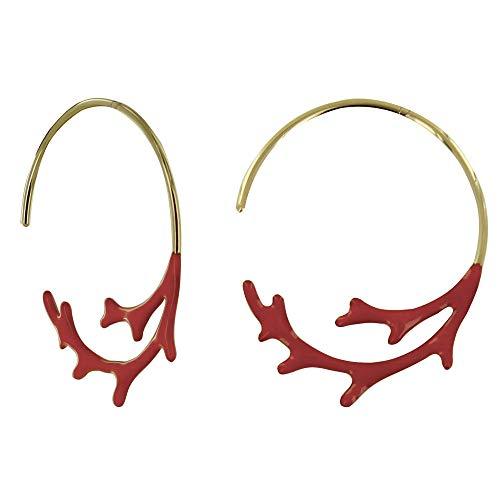 Gioello Les Poulettes - Orecchini Placcato Oro Mezza Creoli Corallo Smaltato Rosso
