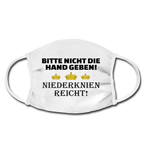 Spreadshirt Bitte Nicht Die Hand Geben! Niederknien Reicht! Adel Mund-Nasen-Bedeckung, Weiß