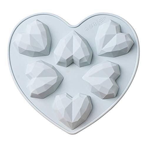 Molde de silicona de corazón 3D, jabón de chocolate, herramientas de silicona para hornear hechas a mano, molde de bandeja, para cupcakes, postres, brownies, helados, tartas de queso, fondant