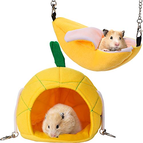 Jetec 2 Pieces Hammock Soft Hamster House Bed Small Pet Animals Hamster Hanging House Cage Nest for Guinea Pig Rat Chinchilla Sleep and Play (Banana and...