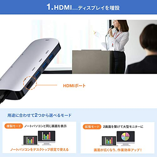 USBTypeCハブ、Vilcome8in1USBCハブウルトラスリムUSBCドッキングハブ4KHDMI出力PDUSB3.0ハブSD/MicroSDカードリーダーマイクロタイプCHDMI変換アダプタMacBookMacBookPro/ChromeBook対応(HDMI・LANポート・SDカードリーダー付き)
