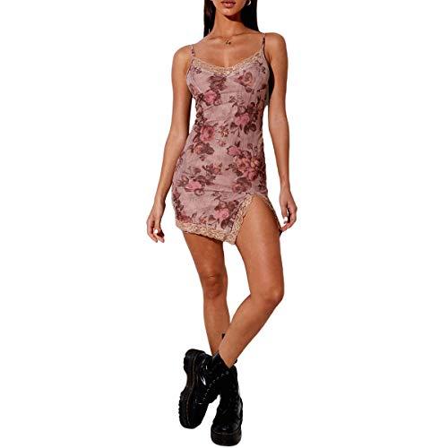 Women's Sexy Bodycon Mini Dress, Cute V Neck Spaghetti Strap Sleeveless Lace Trim Split Hem Cami Dress (Pink Floral, XL)
