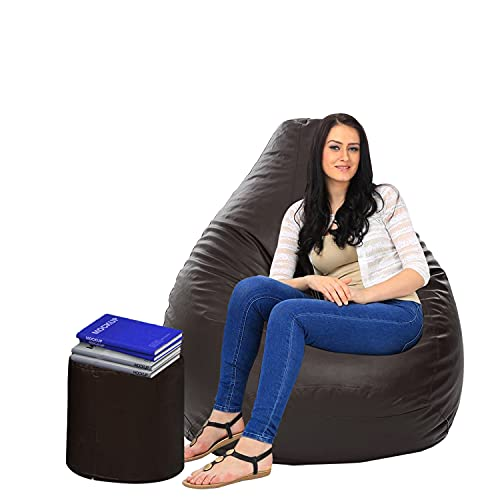 Dr Smith (XXXL) Bean Bag with Footstool Filled with Bean (Brown)