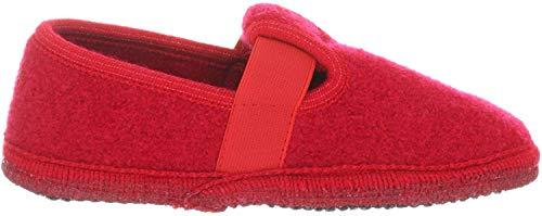 Haflinger Joschi Unisex-Kinder Flache Hausschuhe, Rot (rubin 11), 26