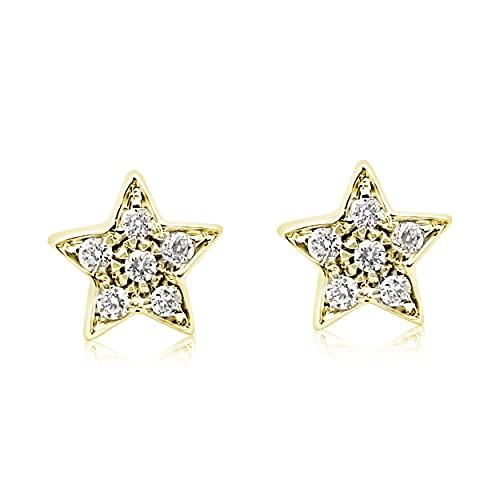MILLE AMORI ∞ Pendientes para mujer oro y diamante ∞ oro blanco de 9 quilates 375  Diamantes 0.06 quilates ∞, dorado., Diamond,