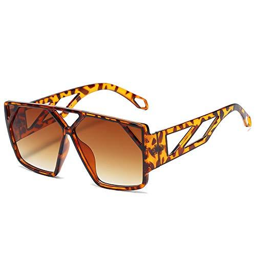 Secuos Moda Gafas De Sol De Gran Tamaño para Mujer, Gafas Cuadradas Negras De Moda, Montura Grande, Gafas Retro Vintage para Mujer, Unisex S2025Leopard