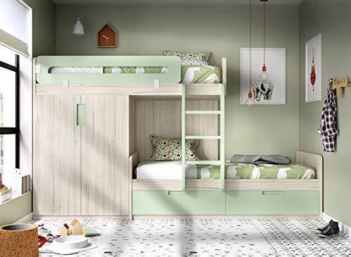 Kinderzimmer Hochbett Jump 318, Kleiderschrank, mit 2 Auszügen, freie Farbwahl