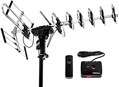 Five Star Outdoor TV Antenna - up to 200 Mile Range Directional 360 Degree Rotation, HDTV 1080P 4K VHF UHF Support 5 TV and FM Radio 2020