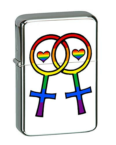 Hat Shark Lesbian Pride Interlocking Venus Symbols LGBT KGM Thunderbird Vintage Lighter - High Polish Chrome