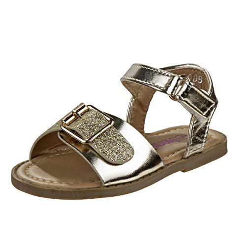Kensie Girl Metallic Sandals with Shiny Glitter Straps, Gold Glitter, Size 10 Toddler'