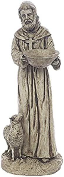 Solid Rock Stoneworks St Francis With Lamb Yard Art Stone Statue 25in Tall Buff Color