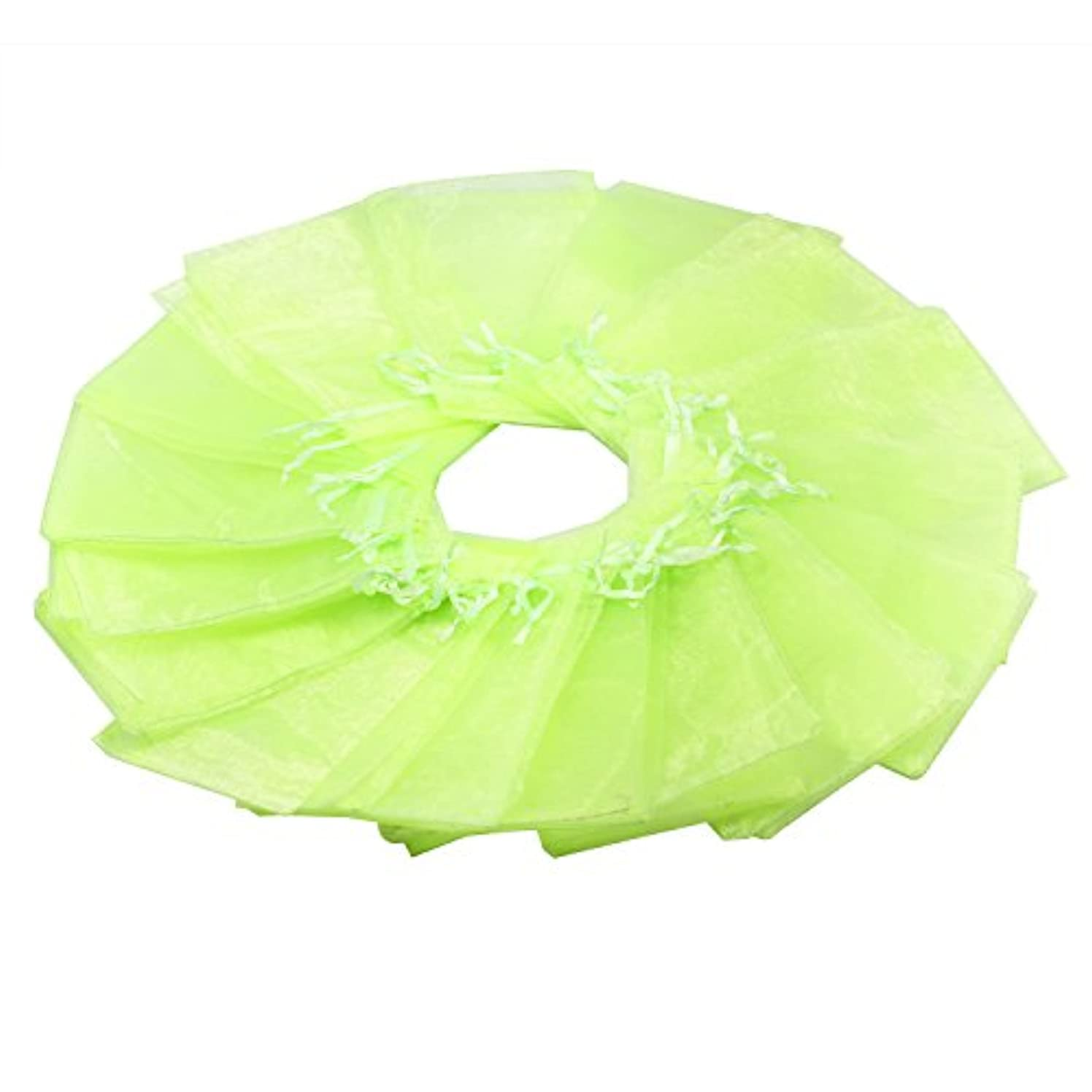 100Pcs 5X7 Inches Sheer Drawstring Organza Jewelry Pouches Wedding Party Christmas Favor Gift Bags (Apple Green)