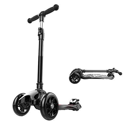 CQILONG-Scooter Manillares Ajustables Barra De Aluminio De Aleación T Plegado Rápido Rueda De Desgaste De PU Adecuado para Niños Pequeños 4 Colores (Color : Black, Size : 55x25x68-84cm)
