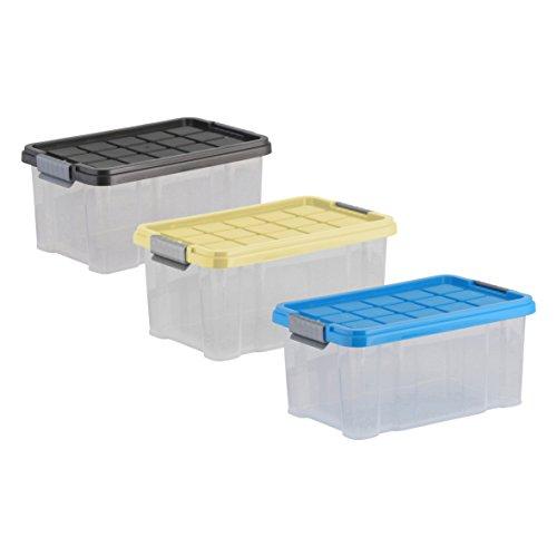 axentia Aufbewahrungsbox mit Deckel, Stapelbox aus Kunststoff 5 Liter, Eurobox transparent, Maße: ca. 30 x 14 x 15 cm, Anthrazit, blau oder gelb - Farbe nicht wählbar