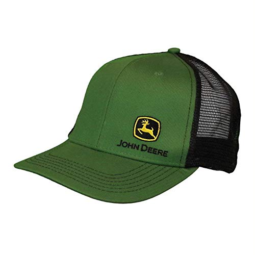 John Deere Mesh Backed Hat with Small Construction Logo, Green