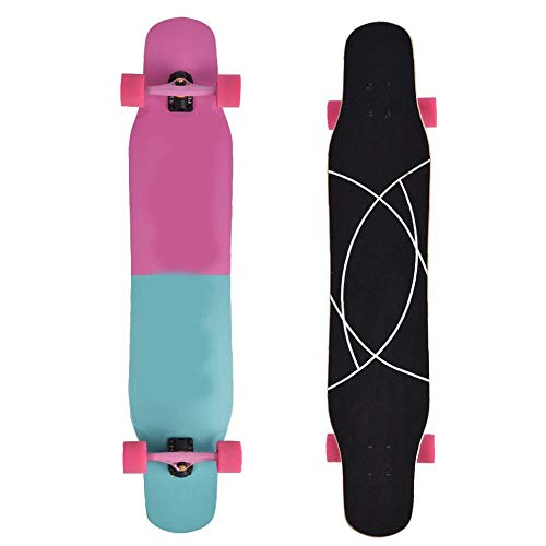 Longboard Skateboard, 4 Ruote da Esterno Professionale per Adulti Longboard Skateboard da Ballo Antiscivolo Road Dance Board Copertura in Acero Rigido a 8 Strati, Portata Massima 230 kg