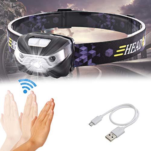 Ahagut Linterna Frontal LED Recargable, Impermeable, Mini Linterna Frontal Ligera con Sensor de Movimiento para Correr, Acampar, niños