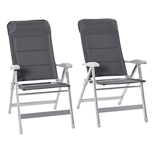 Outsunny Set Of 2 Padded Folding Deck Chair Garden Seats Adjustable Back w/Armrest Aluminium Frame Portable Camping Outdoor Pool Grey