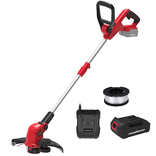PowerSmart 20V Li-Ion Cordless String Trimmer, Auto Feed Thread Trimmer with 12 INCH Cutting Diameter, Height Adjustable Cordless Edger Trimmer Included Battery Pack