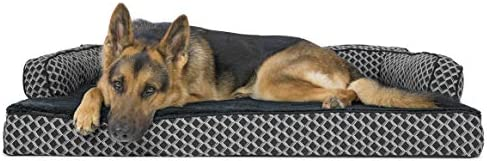 Best Furhaven Pet Dog Bed - Orthopedic Plush Faux Fur & Décor Comfy Couch Traditional Sofa-Style Living