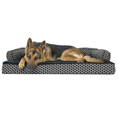 Furhaven Pet Dog Bed - Orthopedic Plush Faux Fur and Décor Comfy Couch Traditional Sofa-Style Living Room Couch Pet Bed with Removable Cover for Dogs and Cats, Diamond Gray, Jumbo