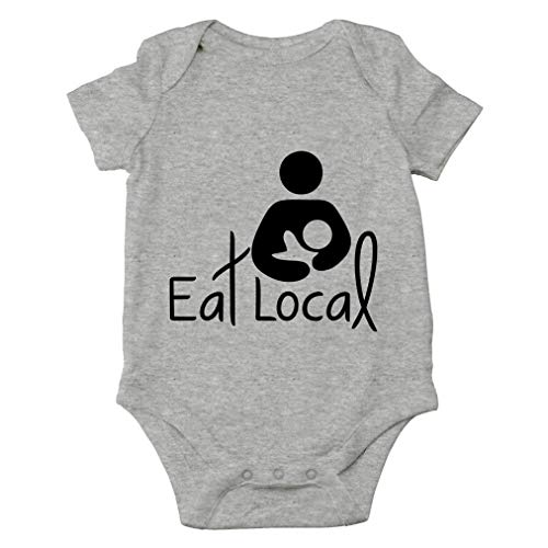 AW Fashions Eat Local- Breastfeeding Cute Novelty Funny Infant One-Piece Baby Bodysuit (12 Months, Sports Grey)