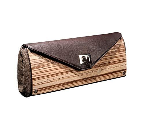 Embawo Handtasche Clutch LAURA - auch als Umhängetasche nutzbar - echtes dunkelbraunes italienisches Leder und echtes Zebrano-Holz - Handwerksqualität 100% Made in Italy