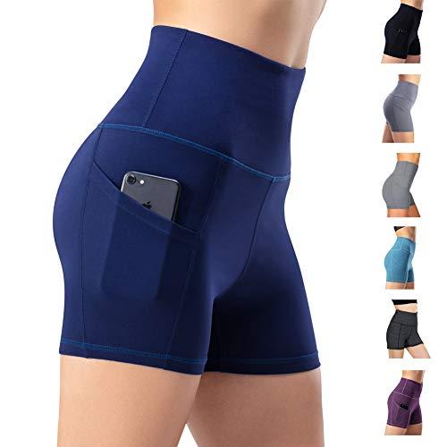 Leggings de yoga para mujer, talle alto, bolsillos para efecto faja, pantalones de entrenamiento, pantalones informales, Mujer, Pantaloni cropped, azul marino, extra-small
