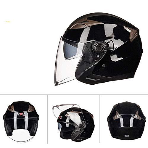 Dgtyui Estate nuovo casco da motociclista a doppia lente mezza faccia ABS casco da motociclista casco per bicicletta elettrico - Nero X XL