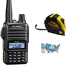 Bundle - 3 Items - Includes Yaesu FT-4XR VHF UHF Dual Band 5W FM Handheld Transceiver with The New Radiowavz Antenna Tape (2m - 30m) and HAM Guides Quick Reference Card