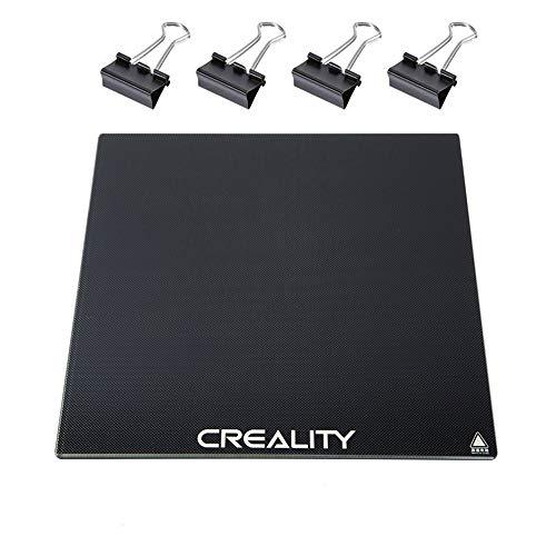 Creality - Cama de impresión 3D con 4 clips para impresora 3D Creality 3D (235 x 235 x 4 mm, para impresora 3D Creality 3D, Ender-3, Ender-3 Pro Hot Bed con revestimiento microporoso)