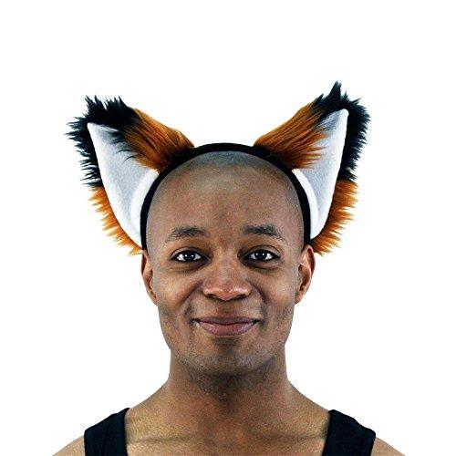 Pawstar Brown Furry Fox Ear Headband – Rust