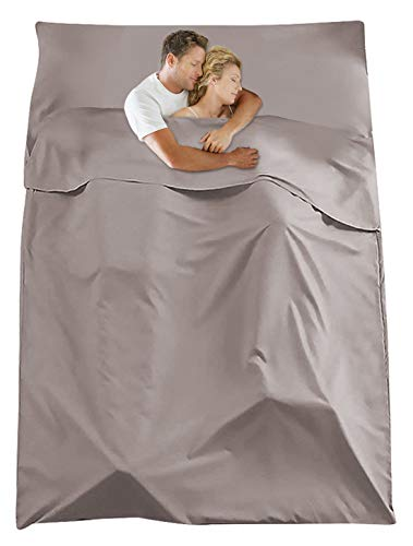 Sleeping Bag Liner Travel Camping Sheet Lightweight Breathable Hotel Compact Sack(Khaki, L)