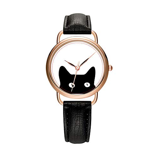 Women's Watches Brand Luxury Fashion Ladies Watch White and Black Leather Band Gold Quartz Wristwatch Female Gifts Clock Black Cat Wrist Watches