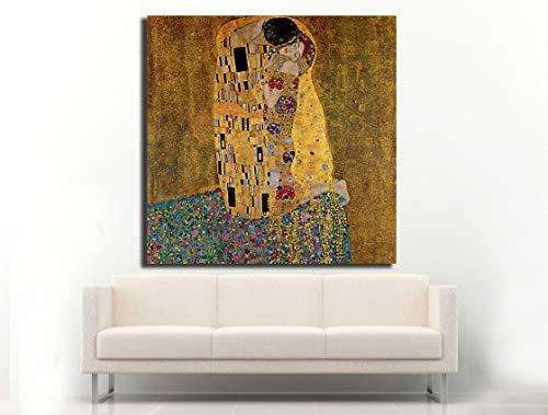 Cuadro Lienzo el Beso de Gustav Klimt - 50x50cm - Lienzo de Tela Bastidor de Madera de 3cm de Grosor - Fabricado en España - Impresión en Alta resolución y Calidad